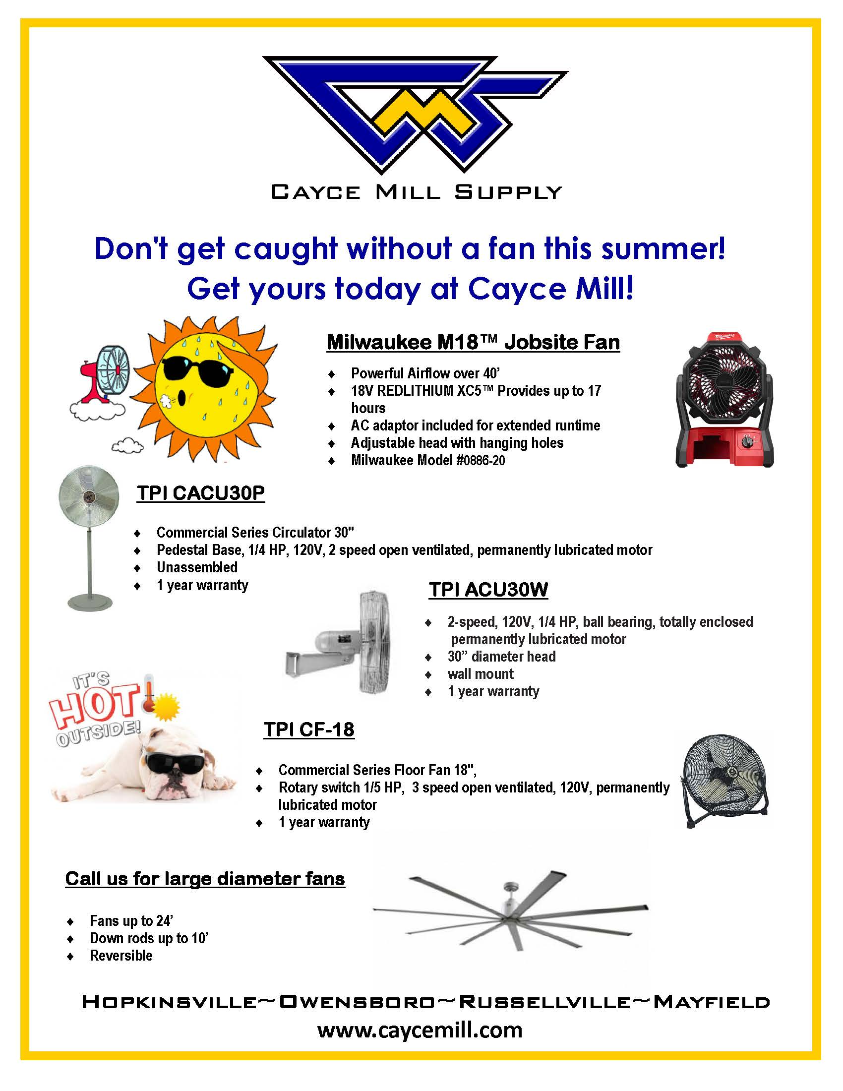 Get Your Fan at Cayce Mill Supply!