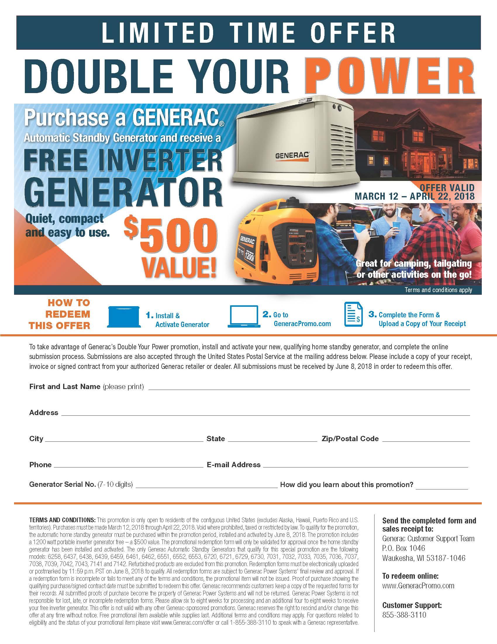 Generac – DOUBLE YOUR POWER