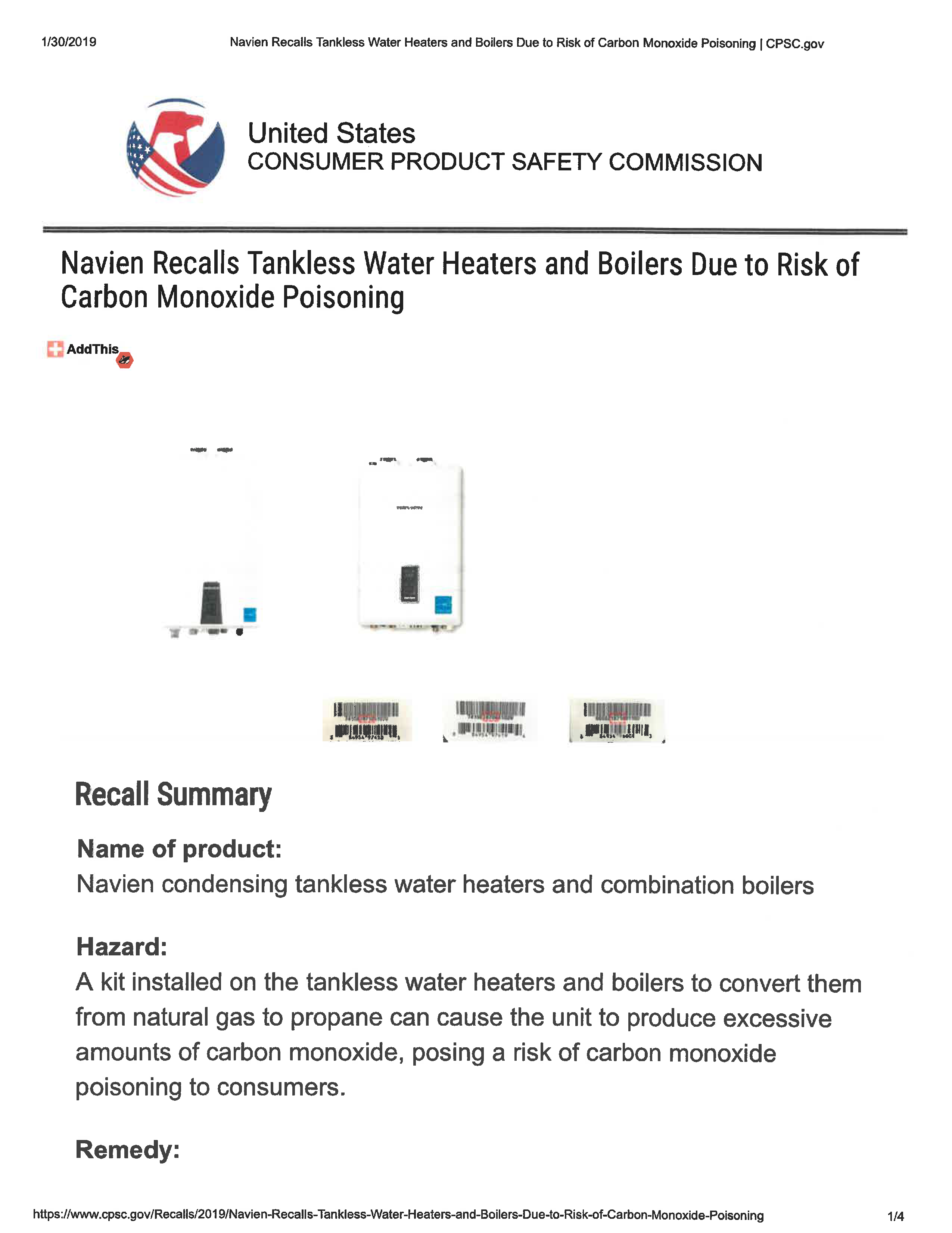 Navien Tankless Water Heaters & Boilers RECALL