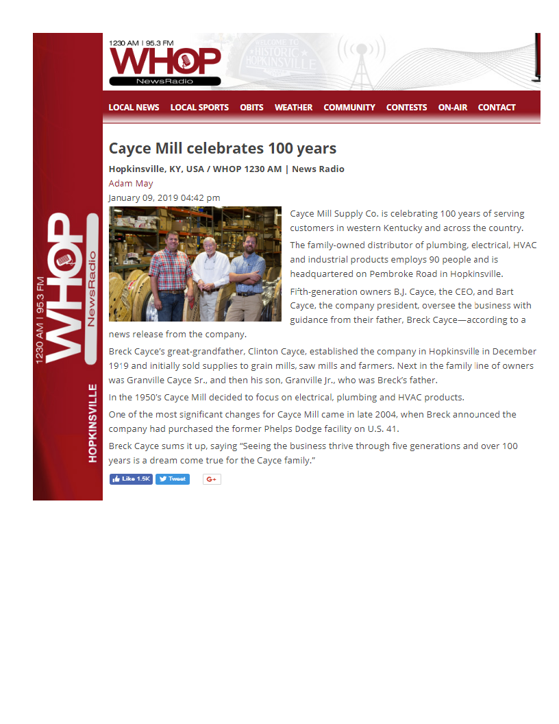 Cayce Mill Celebrates 100 Years – WHOP