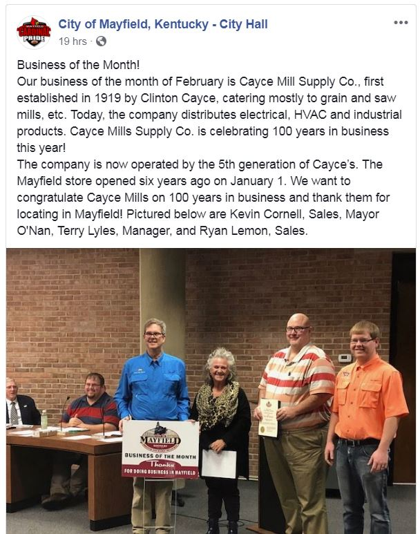 City of Mayfield – Business of the Month