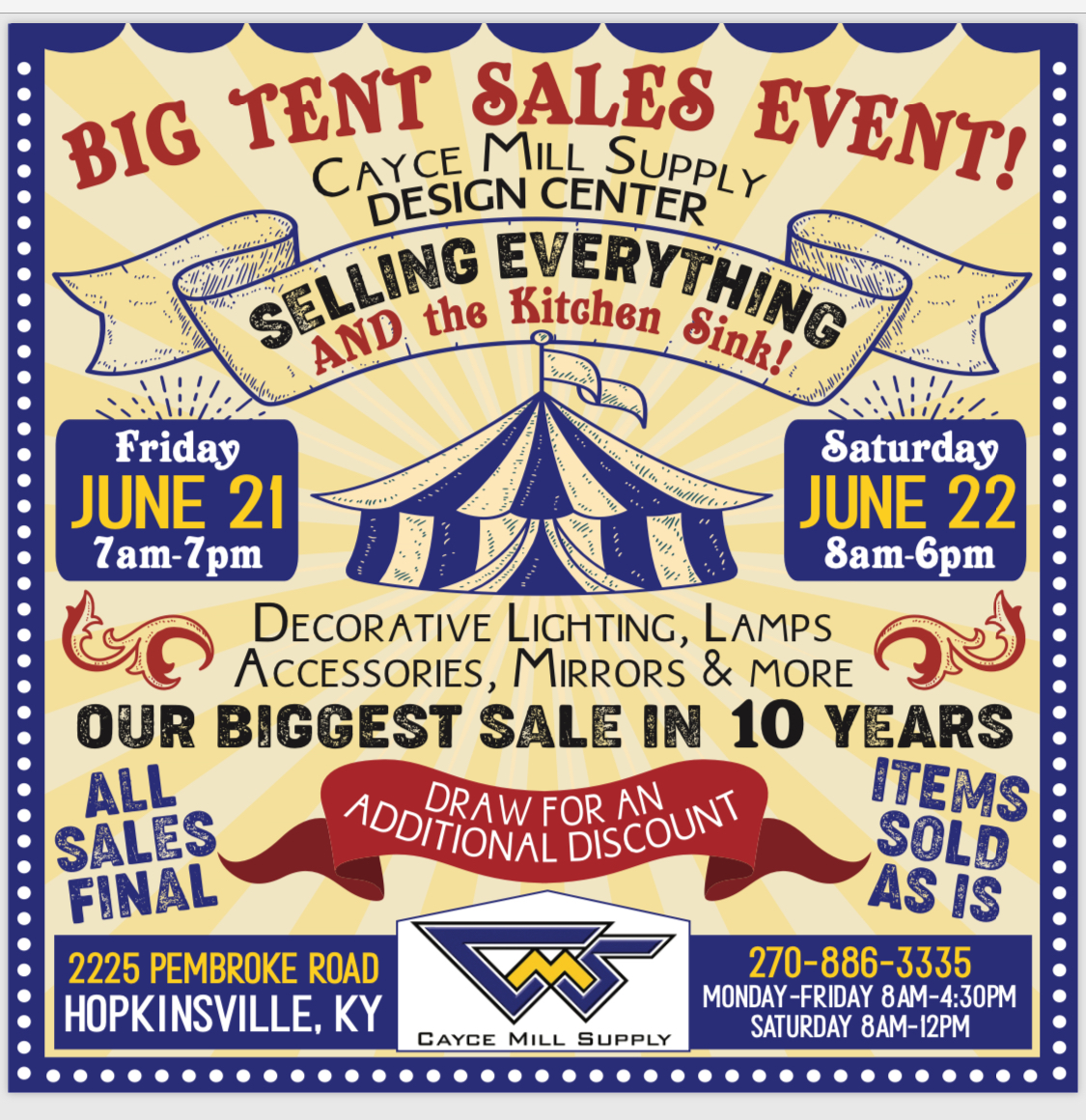 BIG TENT SALE EVENT
