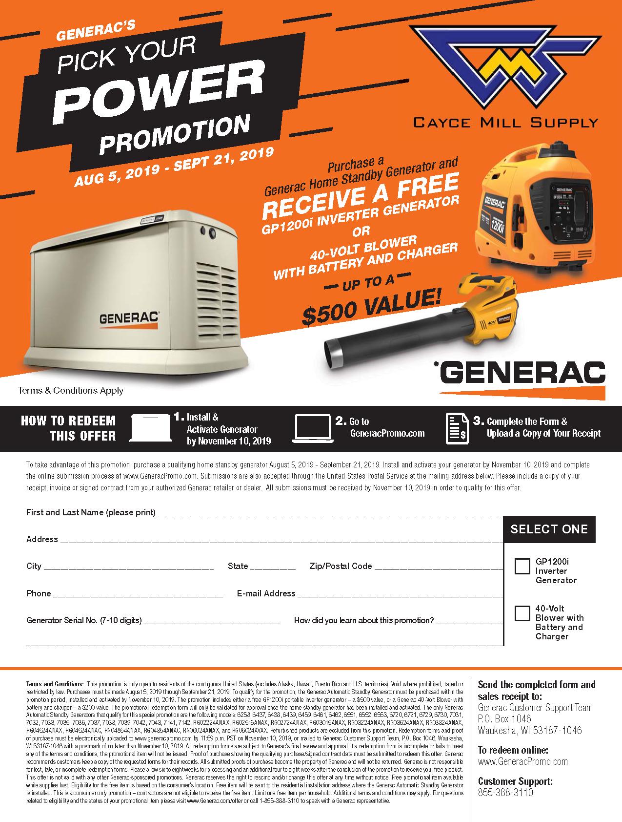 Generac's Pick Your Power Promo
