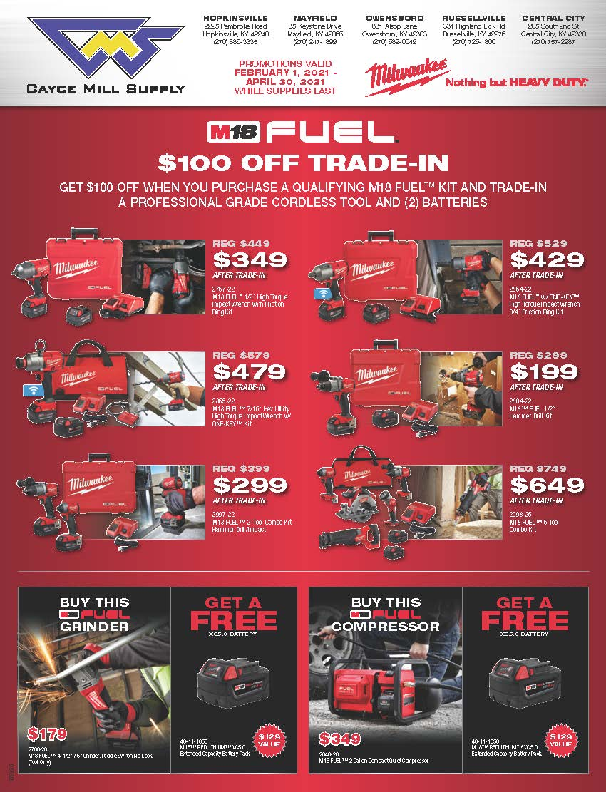 M18 FUEL $100 OFF TRADE-IN