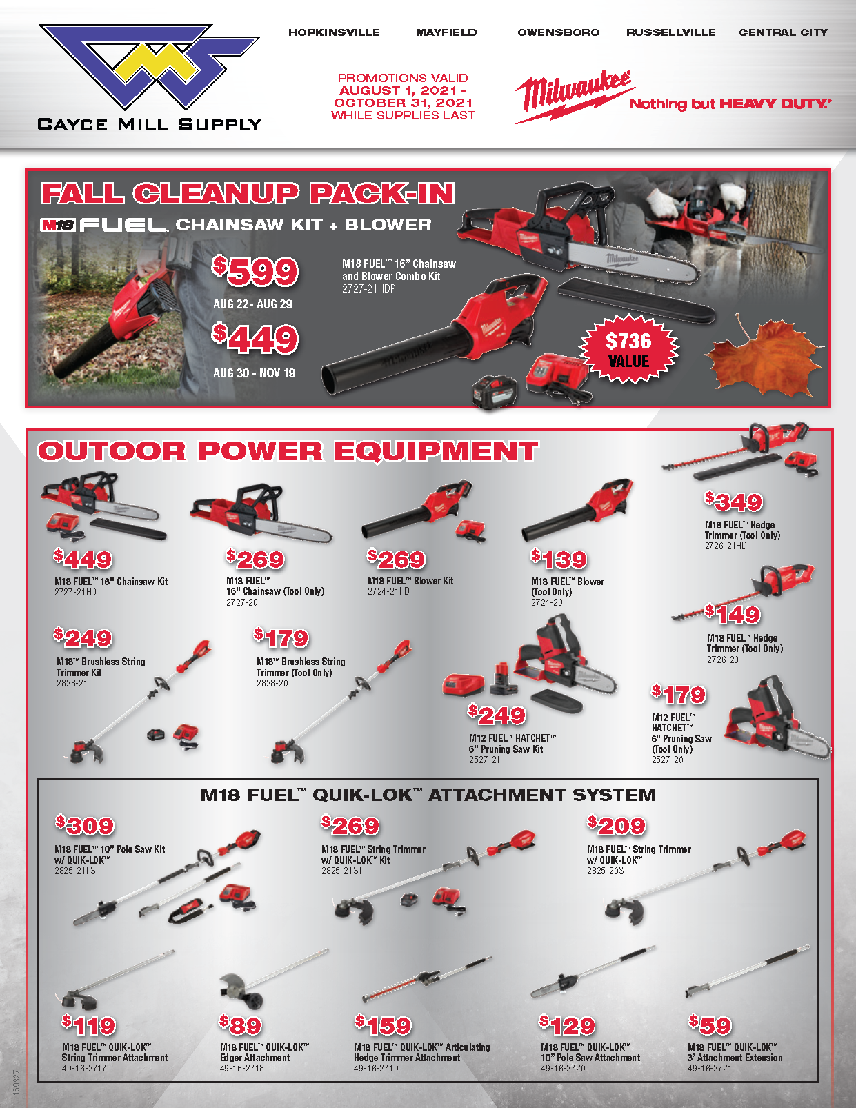 Milwaukee Tool Promo – Fall Cleanup Pack-In